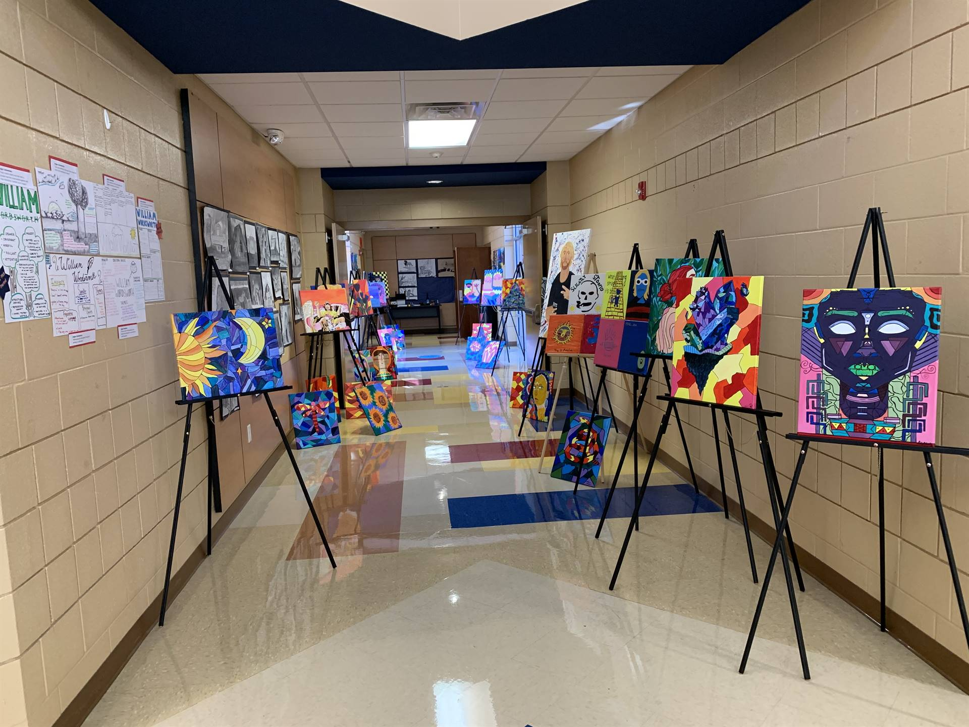 Student artwork in the hallway