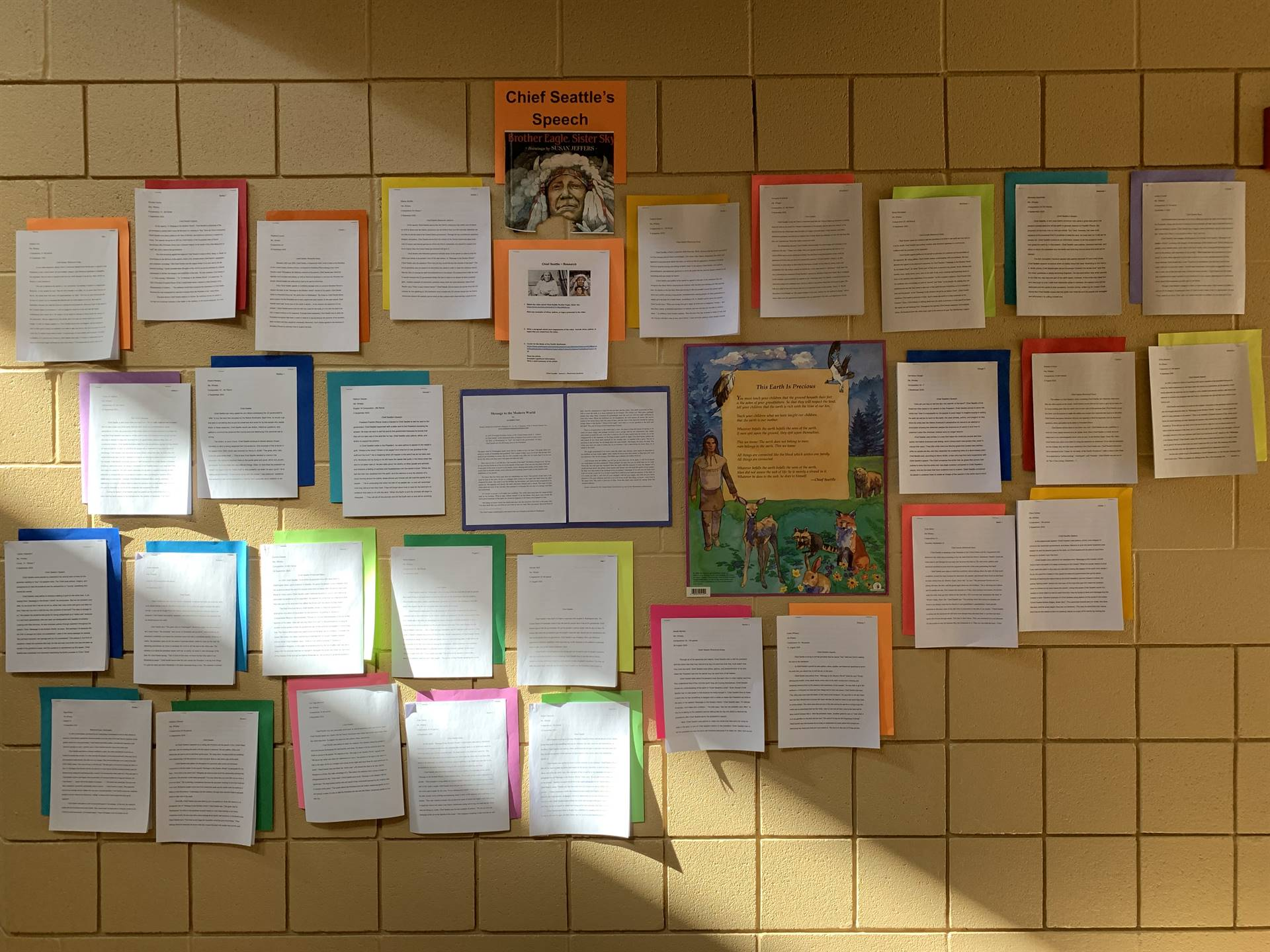 Student Papers on Wall